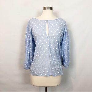 Zara Perwinkle Cotton Embroidered Polka Blouse S